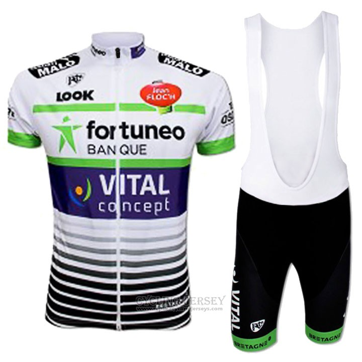 2017 Cycling Jersey Fortuneo Vital Concept White Short Sleeve and Bib Short