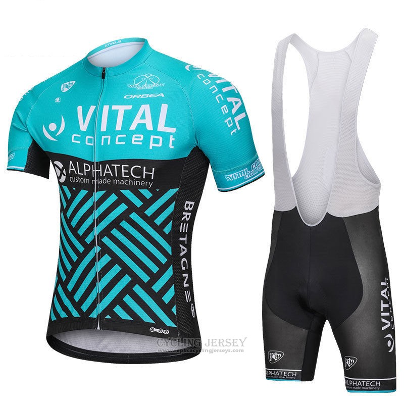 2018 Cycling Jersey Vital Concept Alphatech Blue and Black Short Sleeve and Bib Short