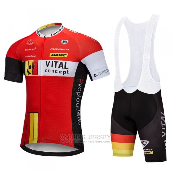 2018 Cycling Jersey Vital Concept Red White Short Sleeve Salopette