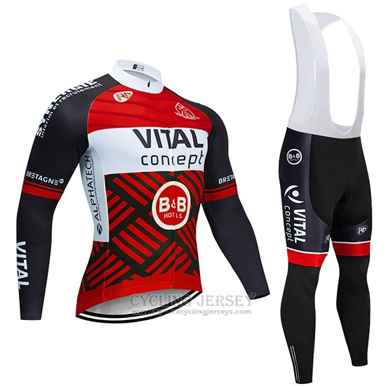 2019 Cycling Jersey Vital Concept Red White Black Long Sleeve and Bib Tight