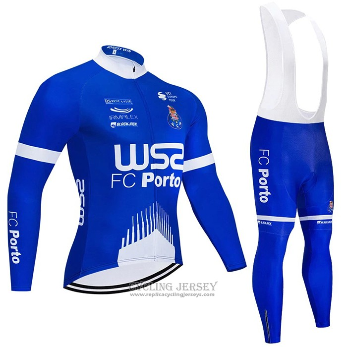 2021 Cycling Jersey W52-fc Porto Blue Long Sleeve And Bib Tight