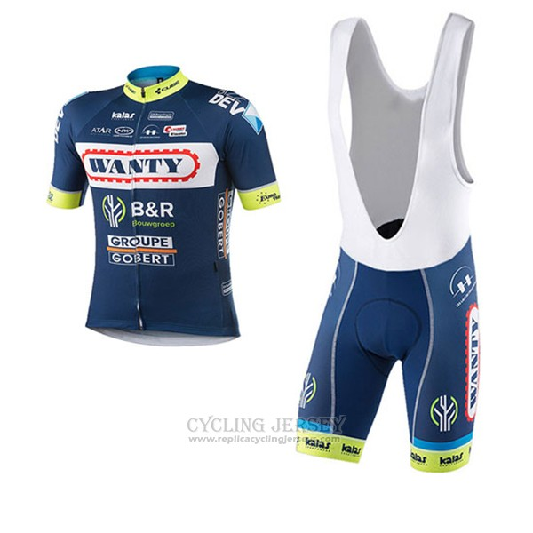 2017 Cycling Jersey Wanty Groupe Gobert Blue Short Sleeve and Bib Short
