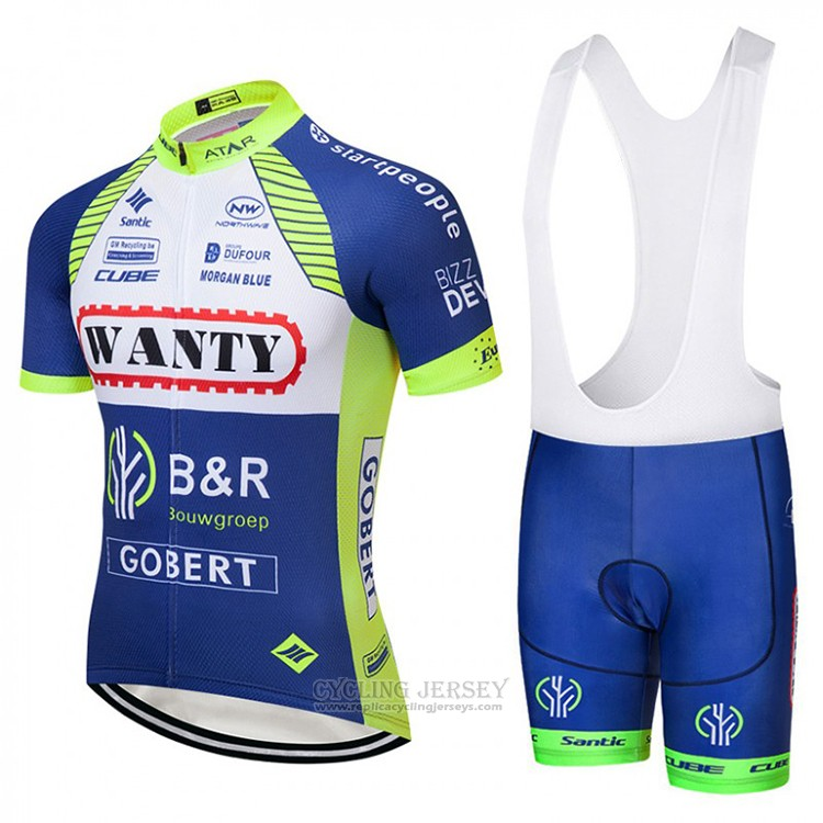 2018 Cycling Jersey Wanty Blue and White Short Sleeve Salopette