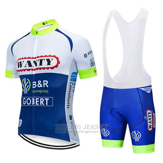 2019 Cycling Jersey Wanty White Blue Short Sleeve and Bib Short
