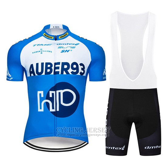 2019 Cycling Jersey Aqber93 Blue White Short Sleeve and Overalls