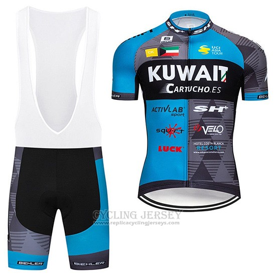 2019 Cycling Jersey Kuwait Blue Gray Short Sleeve and Overalls