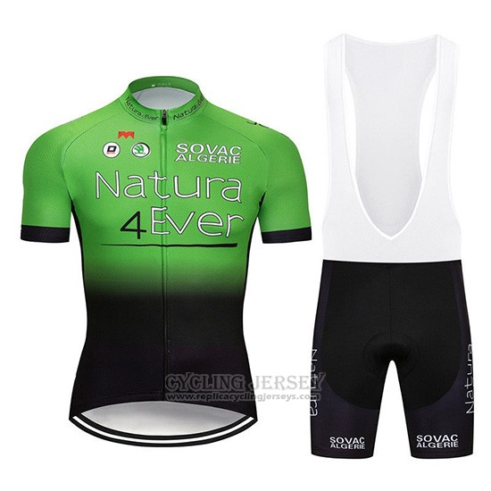 2019 Cycling Jersey Natura 4 Ever Green Black Short Sleeve and Overalls