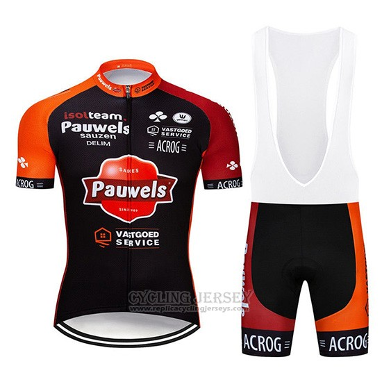 2019 Cycling Jersey Pauwels Black Orange Short Sleeve and Overalls