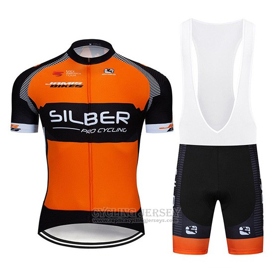 2019 Cycling Jersey Sliber Orange Black Short Sleeve and Overalls