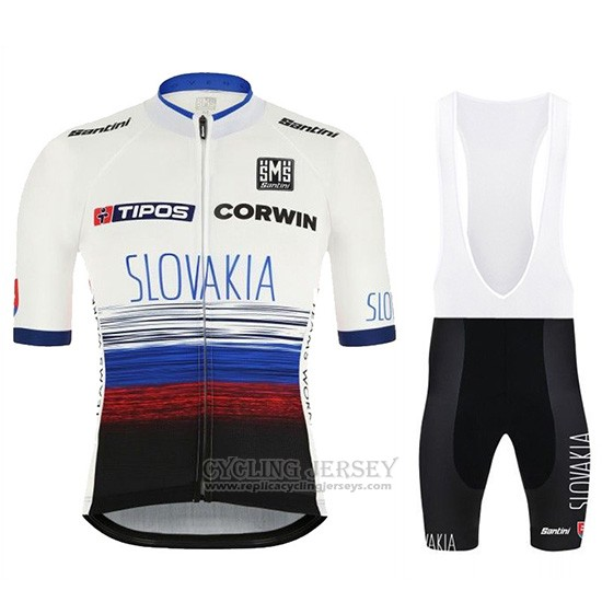 2019 Cycling Jersey Slowakeis White Blue Black Short Sleeve and Overalls