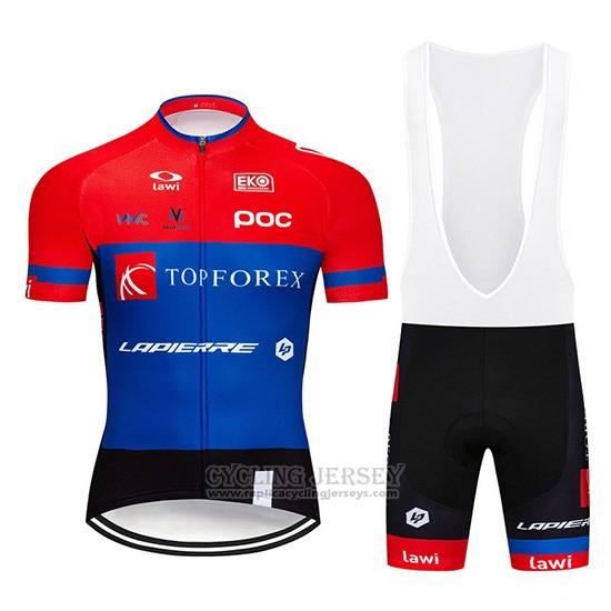2019 Cycling Jersey Topforex Lapierre Red Blue Short Sleeve and Overalls