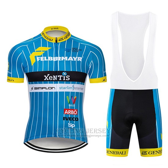 2019 Cycling Jersey Xentis Blue White Short Sleeve and Overalls