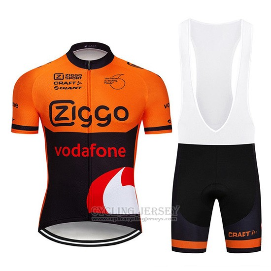 2019 Cycling Jersey Ziggo Orange Black Short Sleeve and Overalls