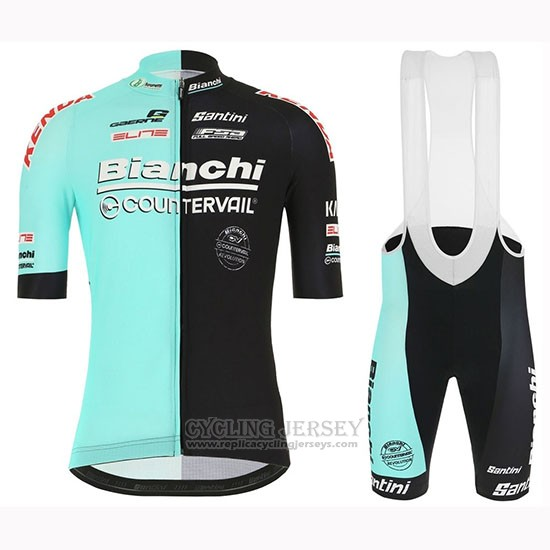 2019 Cycling Jersey Bianchi Countervail Black Green Short Sleeve and Bib Short