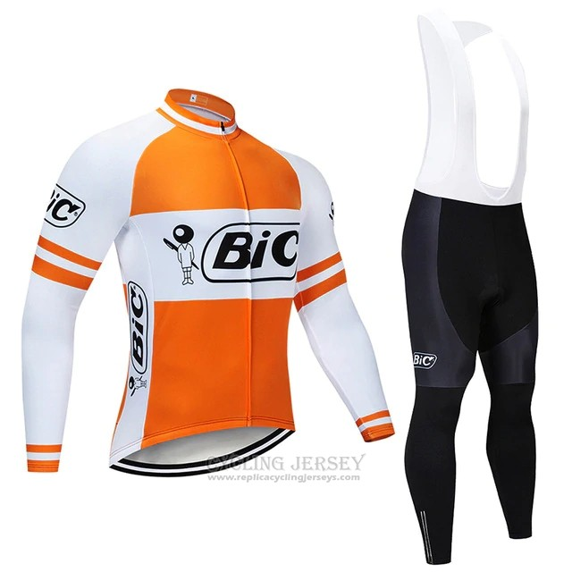 2019 Cycling Jersey Bic White Orange Long Sleeve and Bib Tight