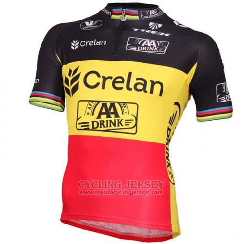 2016 Cycling Jersey Crelan AA Black and Yellow Short Sleeve and Bib Short