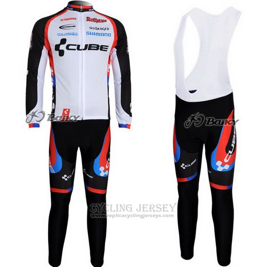2011 Cycling Jersey Cube Black and White Long Sleeve and Bib Tight