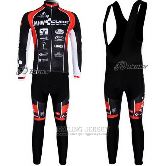 2012 Cycling Jersey Cube Black and Red Long Sleeve and Bib Tight