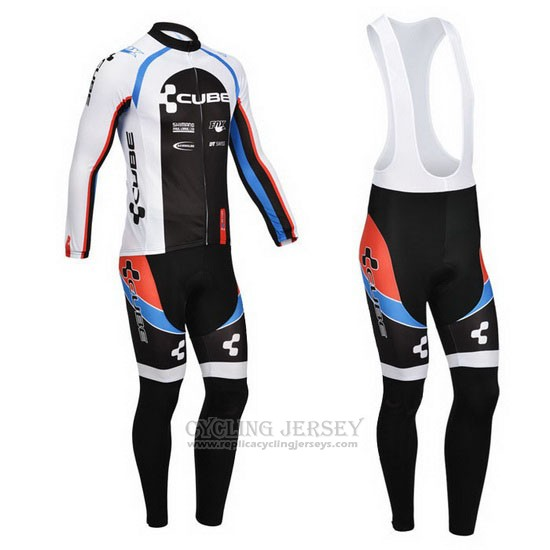 2013 Cycling Jersey Cube Black and White Long Sleeve and Bib Tight