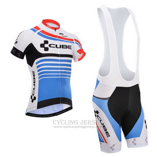 2014 Cycling Jersey Cube Blue and White Short Sleeve and Bib Short