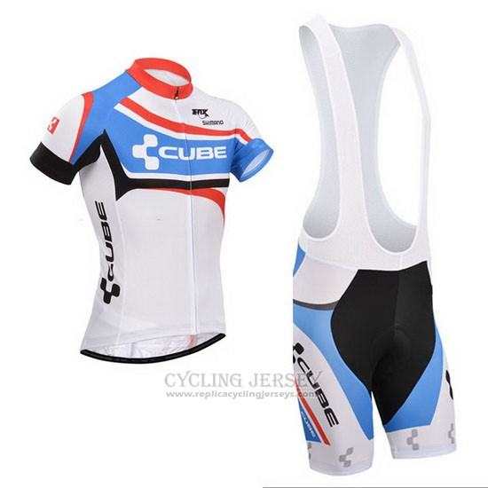 2014 Cycling Jersey Cube White and Blue Short Sleeve and Bib Short