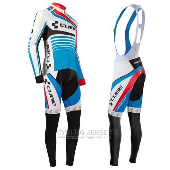 2016 Cycling Jersey Cube Blue and White Long Sleeve and Bib Tight