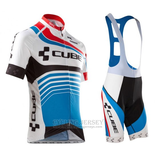 2016 Cycling Jersey Cube Blue and White Short Sleeve and Bib Short