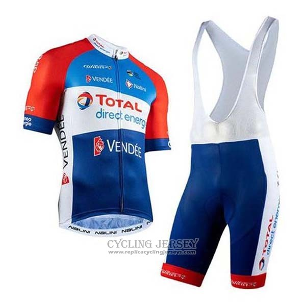 2020 Cycling Jersey Direct Energie Red Blue White Short Sleeve And Bib Short