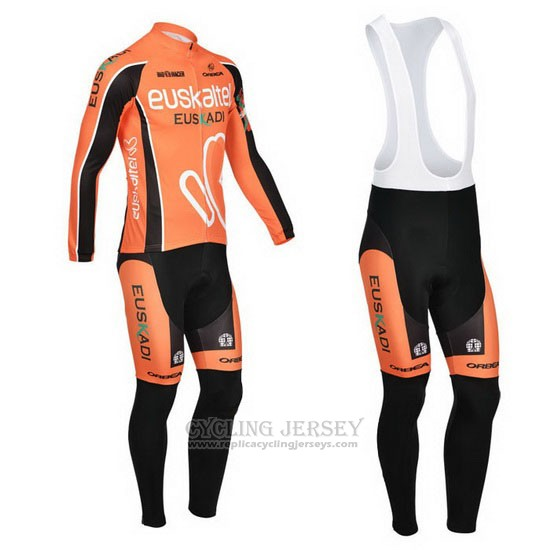 2013 Cycling Jersey Euskalte Orange Long Sleeve and Bib Tight