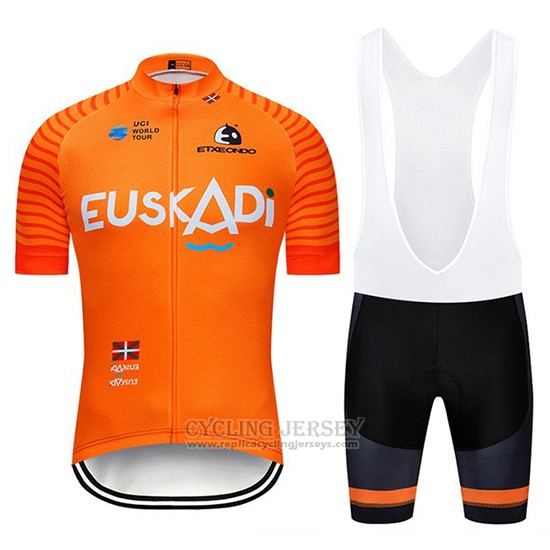 2019 Cycling Jersey Euskadi Orange Short Sleeve and Bib Short