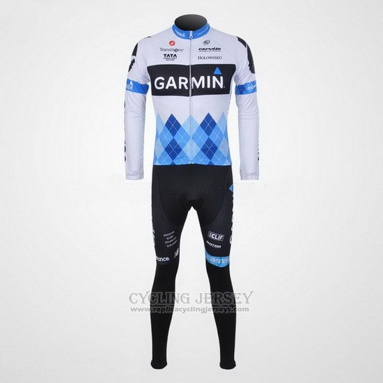 2011 Cycling Jersey Garmin Cervelo Blue and White Long Sleeve and Bib Tight