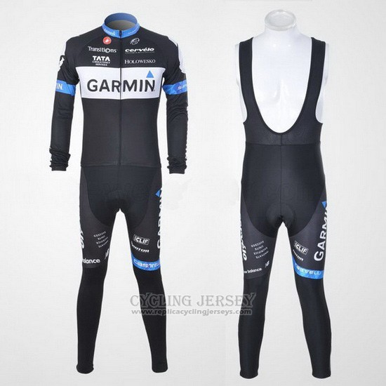 2011 Cycling Jersey Garmin Cervelo White and Black Long Sleeve and Bib Tight