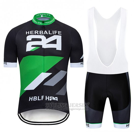 2019 Cycling Jersey Herbalifr 24 Black Green Short Sleeve and Bib Short
