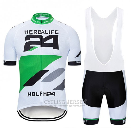2019 Cycling Jersey Herbalifr 24 White Green Short Sleeve and Bib Short