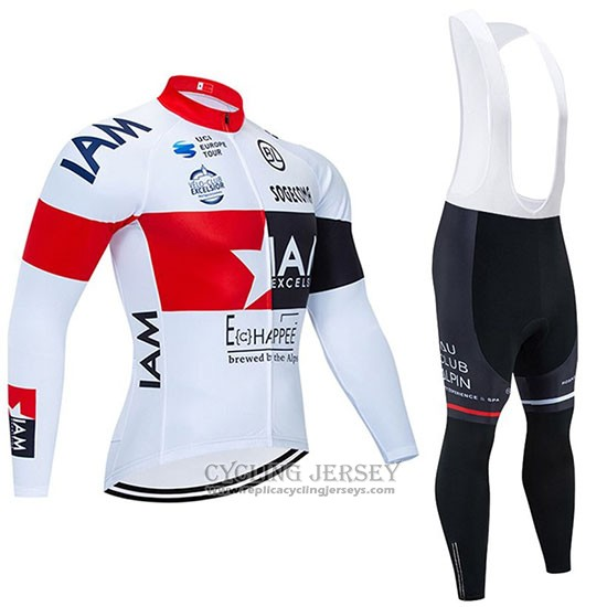 2020 Cycling Jersey IAM White Red Black Long Sleeve And Bib Tight
