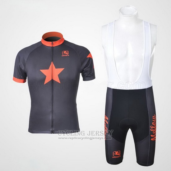 2010 Cycling Jersey Johnnys Orange and Black Short Sleeve and Bib Short