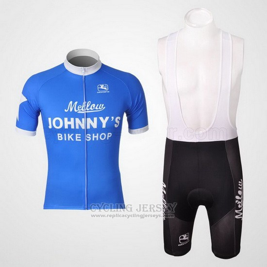 2010 Cycling Jersey Johnnys White and Sky Blue Short Sleeve and Bib Short
