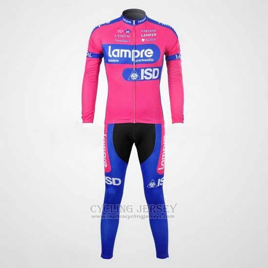 2012 Cycling Jersey Lampre ISD Pink and Sky Blue Long Sleeve and Bib Tight