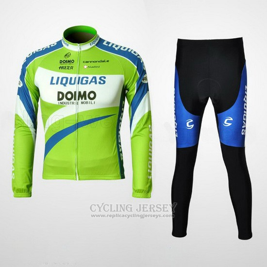 2010 Cycling Jersey Liquigas Doimo Blue and Green Long Sleeve and Bib Tight