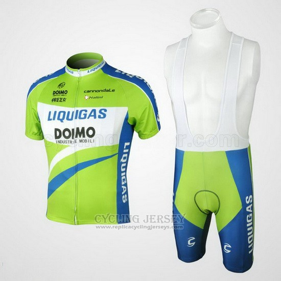 2010 Cycling Jersey Liquigas Doimo Blue and Green Short Sleeve and Bib Short