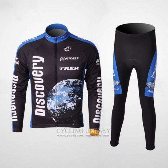2007 Cycling Jersey Trek Black and Blue Long Sleeve and Bib Tight Pantaloni