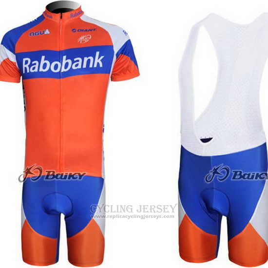 2011 Cycling Jersey Rabobank Blue and Orange Short Sleeve and Bib Short