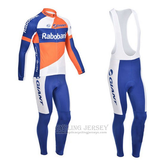 2013 Cycling Jersey Rabobank Blue and White Long Sleeve and Bib Tight