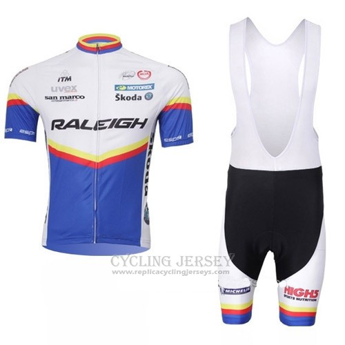 2012 Cycling Jersey Raleigh Blue and White Short Sleeve Salopette