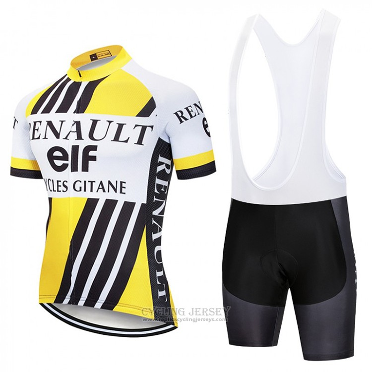2018 Cycling Jersey Renaul Yellow and White Short Sleeve and Bib Short
