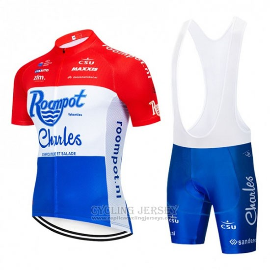 2019 Cycling Jersey Roompot Charles Red White Blue Short Sleeve and Bib Short
