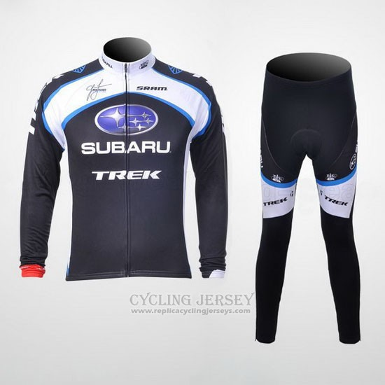 2011 Cycling Jersey Subaru White and Black Long Sleeve and Bib Tight