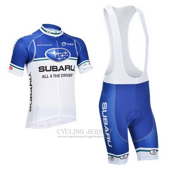 2013 Cycling Jersey Subaru White and Sky Blue Short Sleeve and Bib Short