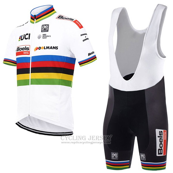 2017 Cycling Jersey UCI World Champion Boels Dolmans White Short Sleeve and Bib Short