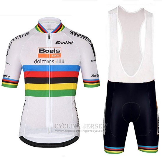 2018 Cycling Jersey UCI World Champion Leader Boels Dolmans White Short Sleeve and Bib Short